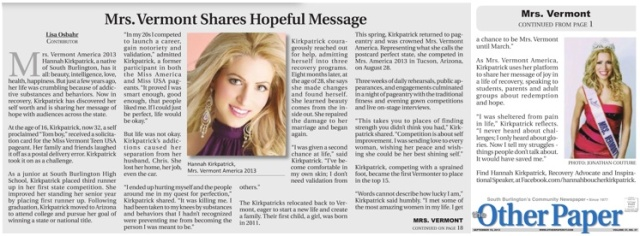 Hannah Kirkpatrick receives local media coverage as Recovery Advocate